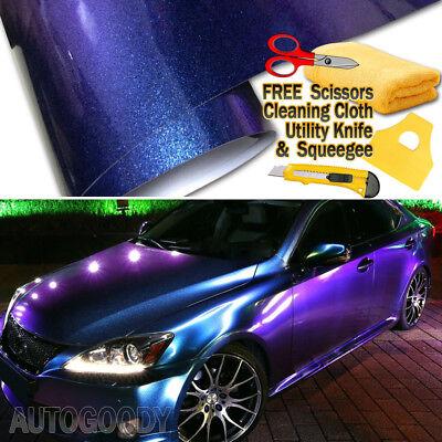 Premium Gloss Metallic Chameleon Purple Blue Vinyl Film Wrap Air Bubble Free (Metallic Blue)