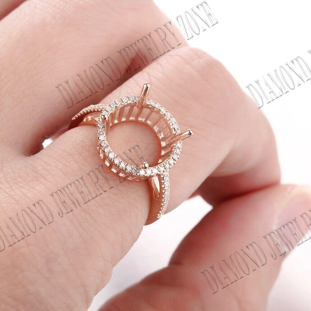 14K Rose Gold Jewelry 0.2CT Diamonds Fine Ring 7x5mm Cushion//Emerald Semi Mount