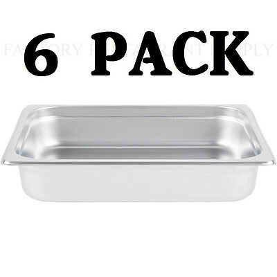 6 Pack Half Size Stainless Steel 2 12 Deep Steam Table Chafing Dish Food Pan
