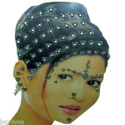 Bollywood Bindis Indisch Haarschmuck Kopfschmuck Strass Hochzeit Silber Karneval