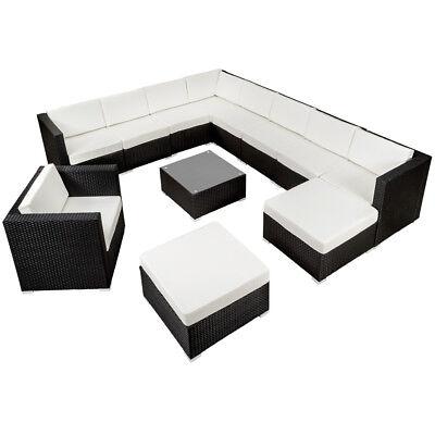 XXL Poly Rattan Alu Sitzgruppe Lounge Rattanmöbel Gartenmöbel Set Schwarz  B Ware