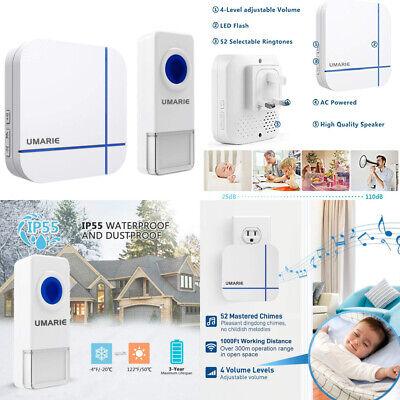 Wireless Doorbell White, Plug in Waterproof Kit, Best Cordless