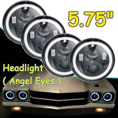 """4pcs 5.75"""" 5-3/4"""" H4 LED Headlights 180W DRL Halo Angle Eyes for Dodge Charger"""
