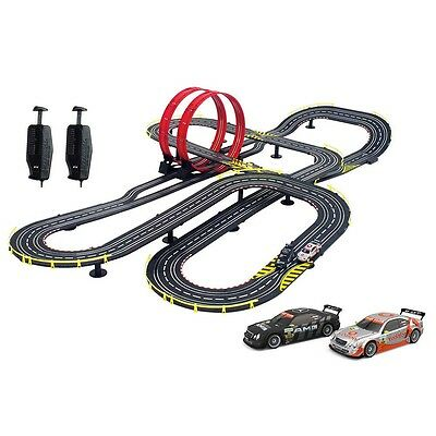 Electric Race Car Track Set Slot Racing 2 Loop Speedway Toy Mercedes Fast Fun