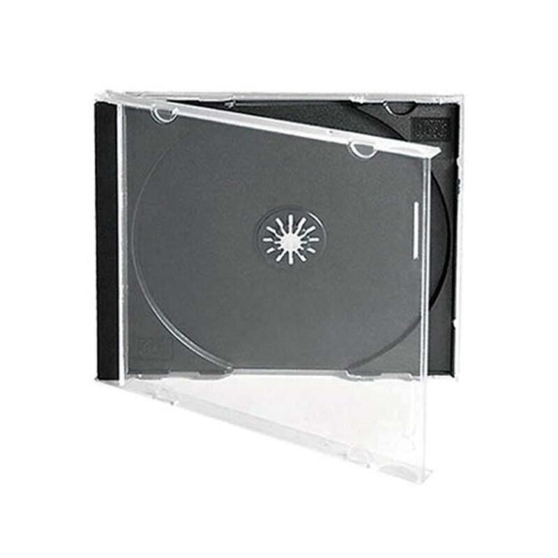 Maxtek 10.4 mm Standard Single Clear CD Jewel Case Assembled Black Tray 50-Pack