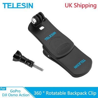 TELESIN Backpack Clip Hat Clamp Mount Rotatable for GoPro Xiaomi Yi Osmo Action