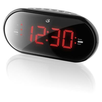 GPX Dual Alarm Clock Radio with Large LED Display, Black C253B
