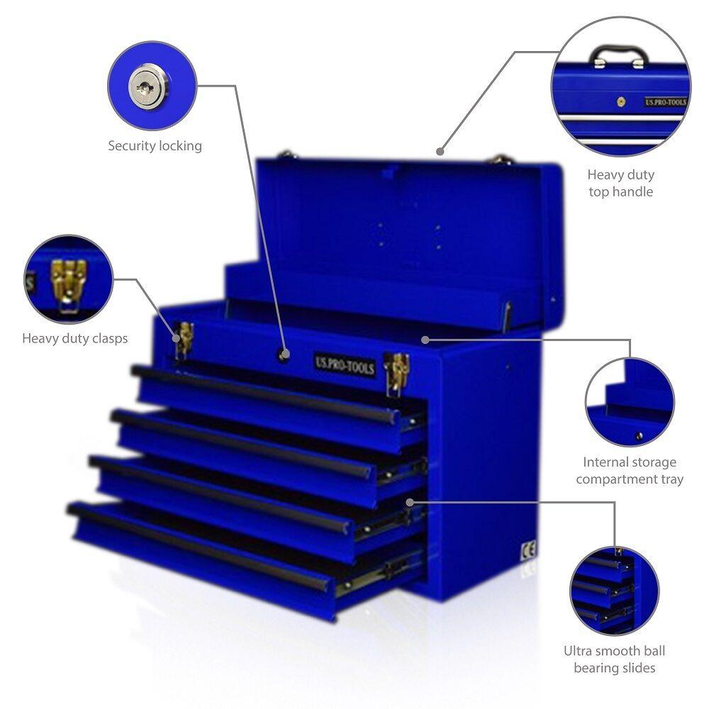 44 us pro tools blue top steel tool box chest cabinet storage mobile 4 drawer ebay. Black Bedroom Furniture Sets. Home Design Ideas