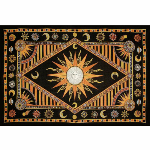"""NEW Celestial Sun and Moon Tapestry Cloth 72x104"""" (Twin) Cotton - Yellow/Orange"""