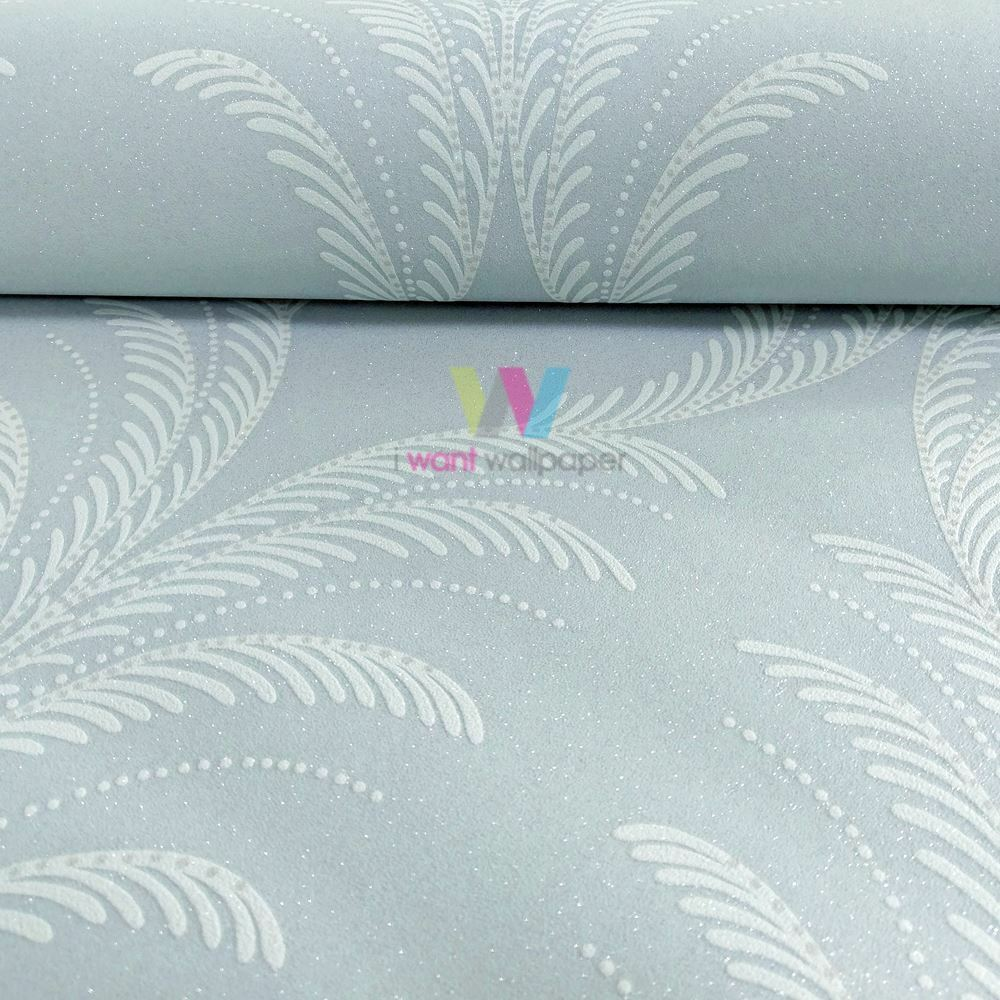 Grandeco Reflect Plume Feather Damask Pattern Wallpaper Textured Glitter RE2118
