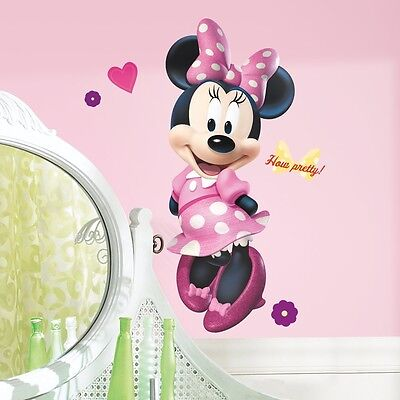 """MINNIE MOUSE BOW-TIQUE 40"""" Giant Wall Decal  Pink Dots Vinyl Room Decor Stickers"""
