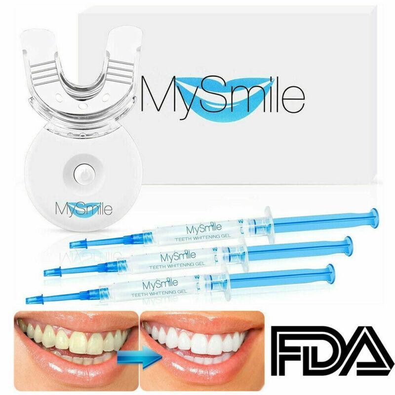 Mysmile Teeth Whitening Kit Bleaching Gels LED light Tray shade guide FDA