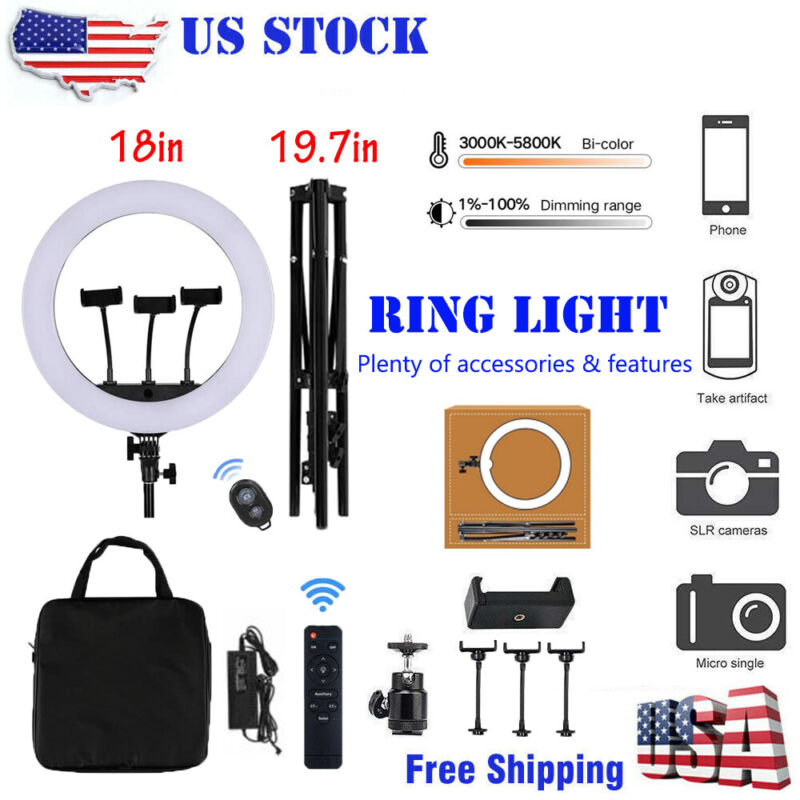 """18"""" inch BiColor LED Ring Light Kit with Stand Social Media/Beauty Shoot"""