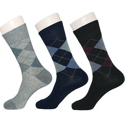 """5 Pairs Mens Argyle Casual Dress Socks """"Skin contact surface is 100% cotton"""" M22"""