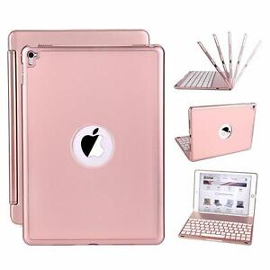 iPad Pro 9.7 Case with Keyboard Slim Aluminum Alloy Buttom Bluetooth Keyboard Case Cover with 7 Color LED Backlight and