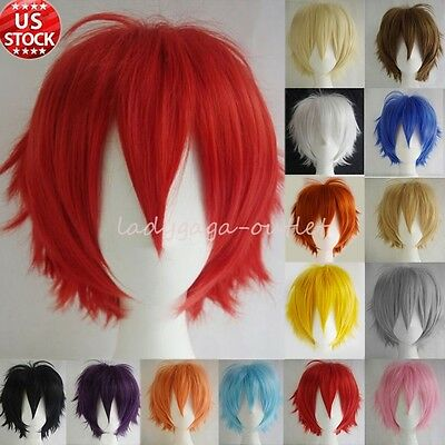 HOT SELL Fashion Cosplay Wig Short Straight Men Boy Cartoon Anime Party Hair Wig ()