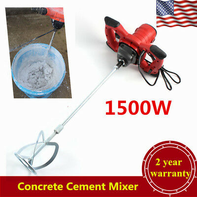 Portable Handheld Electric Concrete Cement Mixer Mixing Mortars 2 Speed 1500w