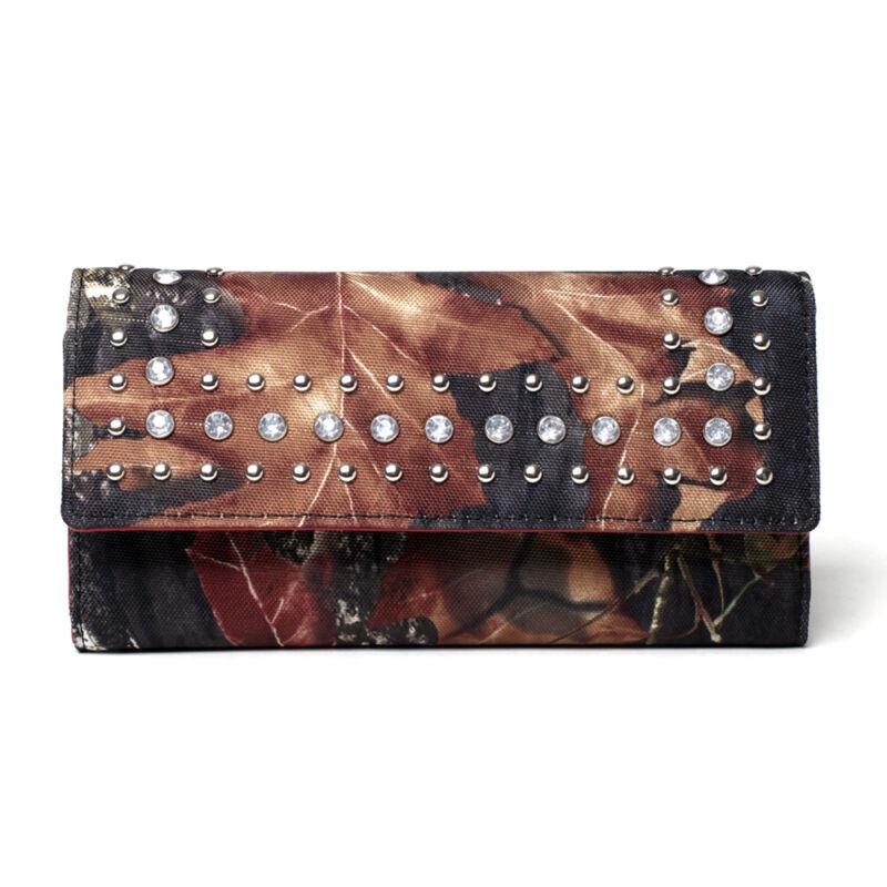 New Fashion Mossy Oak Women Camo Rhinestone Camouflage Wallet Purse Handbag Bag