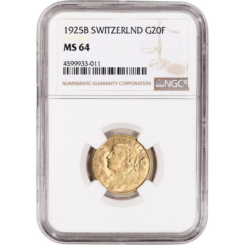 1925 B Switzerland Gold 20 Francs - NGC MS64