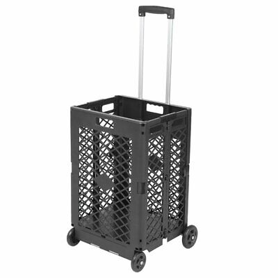 Wheels Mesh Rolling Utility Cart Folding 55lbs Capacity Plastic Shopping Trolley