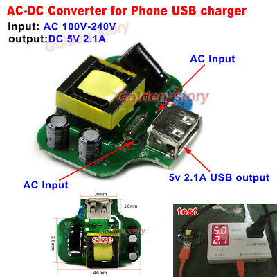 Mini AC-DC Converter AC 110V 220V 230V to DC5V 2.1A USB Yield DIY Phone Charger