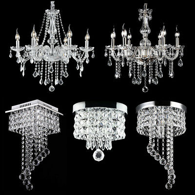 Modern Chandelier Crystal Glass LED Ceiling Light Fixture Pendant Hanging - Glass Ceiling Pendant Light Fixture