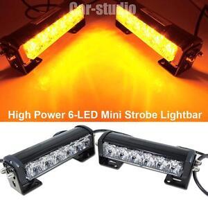 amber 6 led strobe bumper lights mini lightbar lamps snow plow s6a. Black Bedroom Furniture Sets. Home Design Ideas