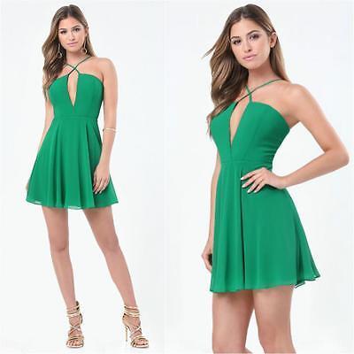 Bebe Green Cross Front Skater Dress Nwt New Xsmall Xs 2