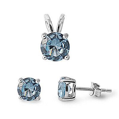 Aquamarine Pendant Set (Round Aquamarine .925 Sterling Silver Pendant & Earrings Set )