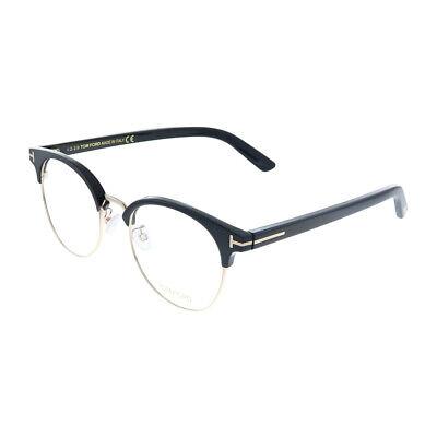 New Tom Ford FT 5448/D 001 Black Gold Plastic Round Eyeglasses (Plastic Spectacles)