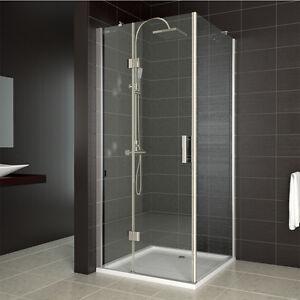 Duschkabine Duschabtrennung Dusche 90x90 cm NANO Duschwand Eckeinstieg Echtglas