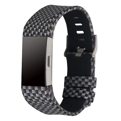 BLACK & STEEL 3D Replacement Wristband Band Watch Strap For FITBIT CHARGE 2
