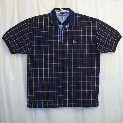 Tommy Hilfiger Polo Shirt Men's Large L Blue / Windowpane Short Sleeve