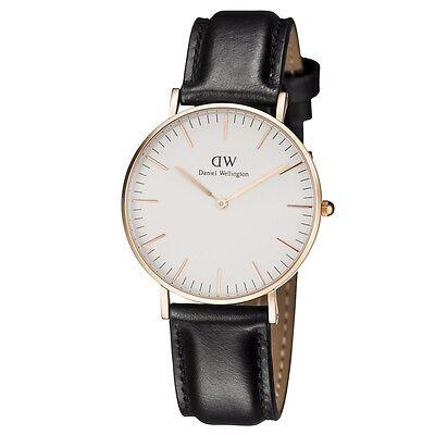 Daniel Wellington Classic Sheffield Rose Gold Black Leather Ladies Watch 0508DW