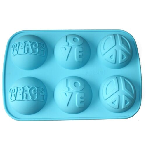 Love Peace Sign Round Dome Silicone Soap Mold Chocolate Muffin Jello Making Mold
