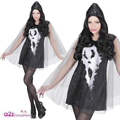 Screaming Ghost Lady Adult Ladies Halloween Black Gothic Fancy Dress - Ghost Lady Kostüm