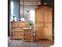 Bargain, brand new corona bedroom set, wardrobe, drawers, bedside table. FREE DELIVERY