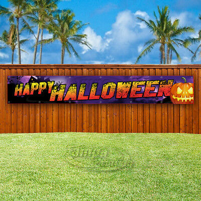 Halloween Vinyl Banners (HAPPY HALLOWEEN Advertising Vinyl Banner Flag Sign LARGE HUGE XXL)