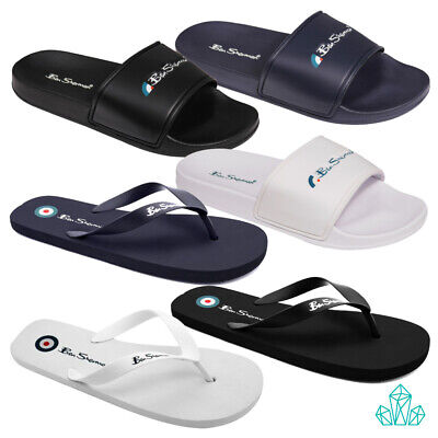 New Mens BEN SHERMAN Slip on Sliders Slippers Flip Flops Navy / White / Black