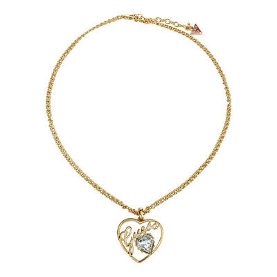 Guess Jewelry UBN11204 Ladies Gold Stainless Steel Heart Necklace Crystal Charm Crystals Guess Ladies Jewelry