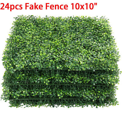 24pcs Artificial UV Boxwood Mat Wall Hedge Decor w/ Ties Grass Fake Fence 10x10