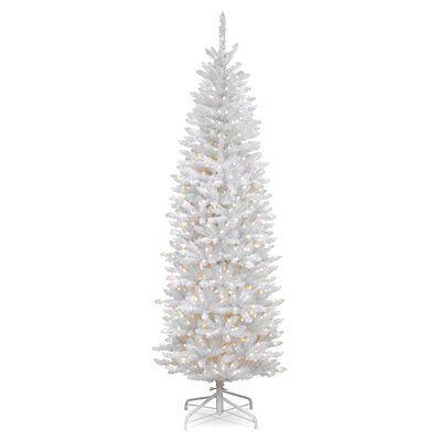 7 ft. Kingswood Fir Hinged Pencil Christmas Tree - Crystalline, White
