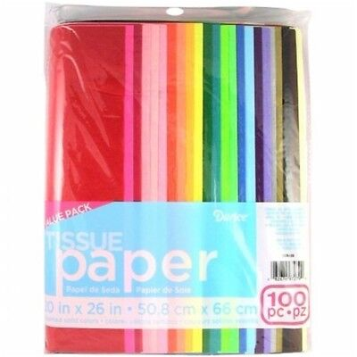Darice Tissue Paper Value Pack 20-inch x 26-inch 100/pkg-ass