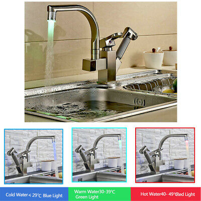Brushed Nickel LED Faucet Sink Pull Out Sprayer Swivel Spout Mixer Tap  1 Holes