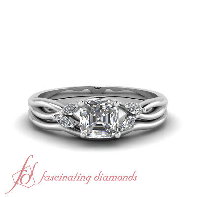 3/4 Carat Asscher Cut Diamond Petal Style Engagement Ring With Matching Band GIA