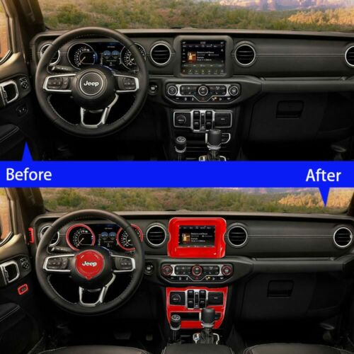 "Full set For 2018+ Jeep Wrangler JL Interior Accessories Cover Trim Kit 7"" Red eBay"