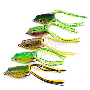 5pcs Toad Soft Plastic Fishing LureS CrankbaitS Hooks Bass Bait Frog5