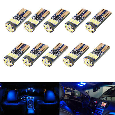 10 x Ultra Blue T10 194 2825 W5W LED Bulbs for Interior License Plate Light