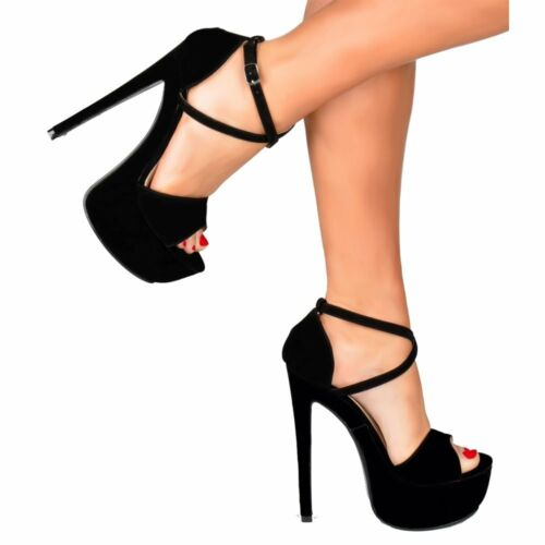 899f0096d4019c Womens Strappy High Heels Xmas Prom Party Shoes Black Red Gold Silver  Glitter