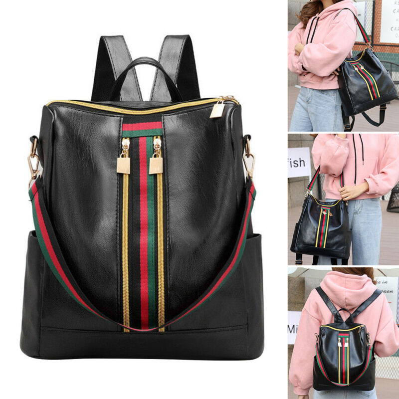 Style Women Girls PU Leather Backpack Travel School Backpack Laptop Rucksack